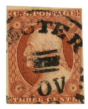 1851-57 3c Washington, orange-brown, imperforate, type II