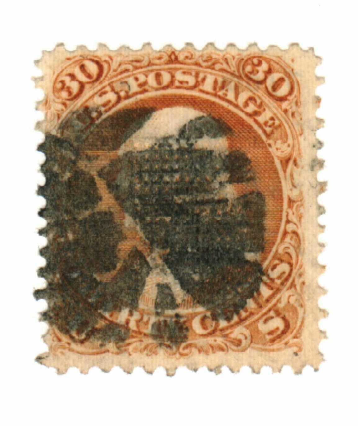 1867 30¢ Benjamin Franklin, orange