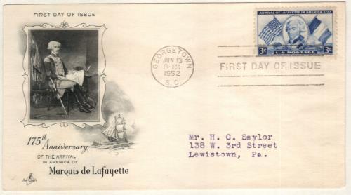 1952 3¢ Arrival of Lafayette in America