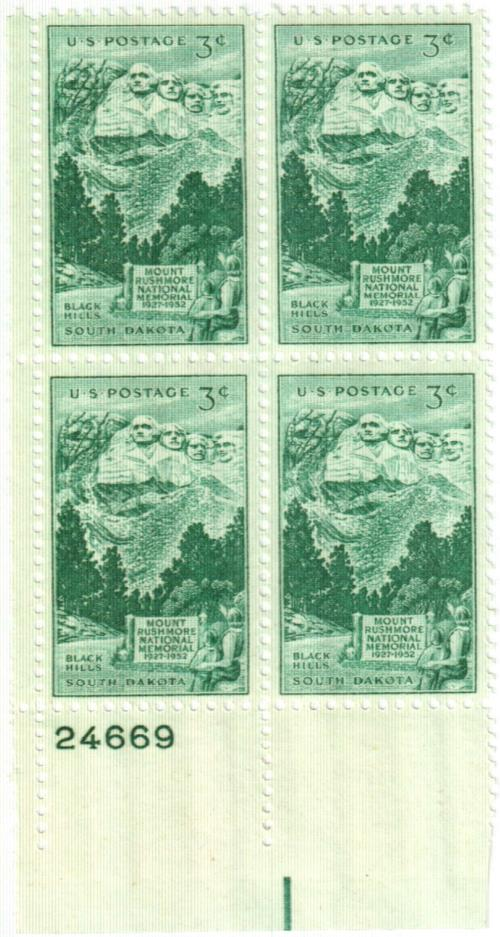 1952 3¢ Mt. Rushmore Memorial