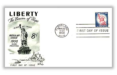 1958 Liberty Series - 8¢ Statue of Liberty, Redrawn, Giori Press