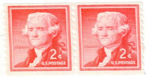 1954 Liberty Series Coil Stamps - 2¢ Thomas Jefferson