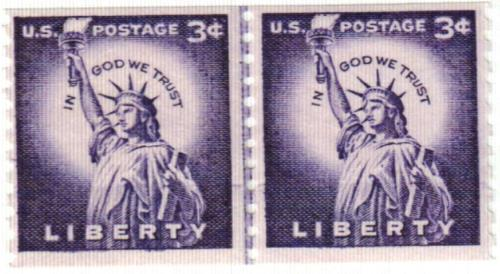 1956 Liberty Series Coil Stamps - 3¢ Statue Of Liberty