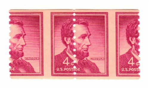 1958 Liberty Series Coil Stamps - 4¢ Abraham Lincoln