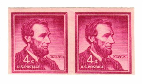 1958 4c Abraham Lincoln, imperf pair