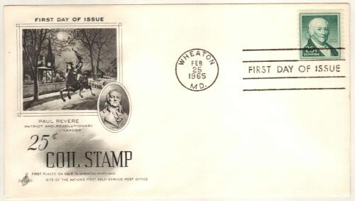 1965 Liberty Series Coil Stamps - 25¢ Paul Revere