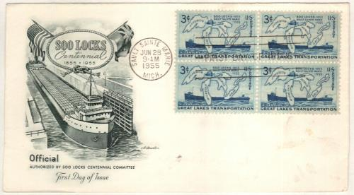 1955 Soo Locks Classic First Day Cover
