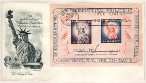 1956 3¢ & 8c FIPEX, s/s