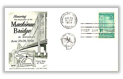 U.S. #1109 FDC – 1958 Mackinac Bridge First Day Cover.