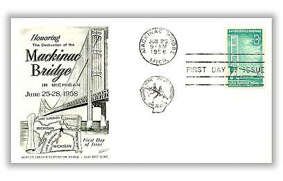 U.S. #1109 FDC – 1958 Mackinac Bridge First Day Cover.