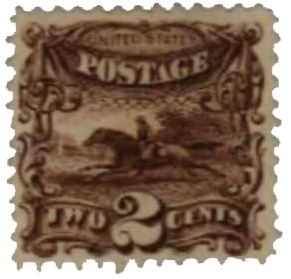 1869 2c Pony Express, brown