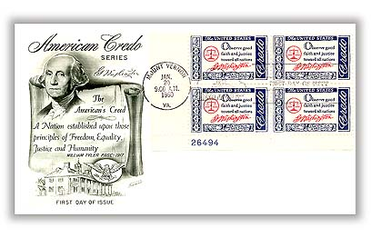 U.S. #1139 FDC – Washington Credo First Day Cover.