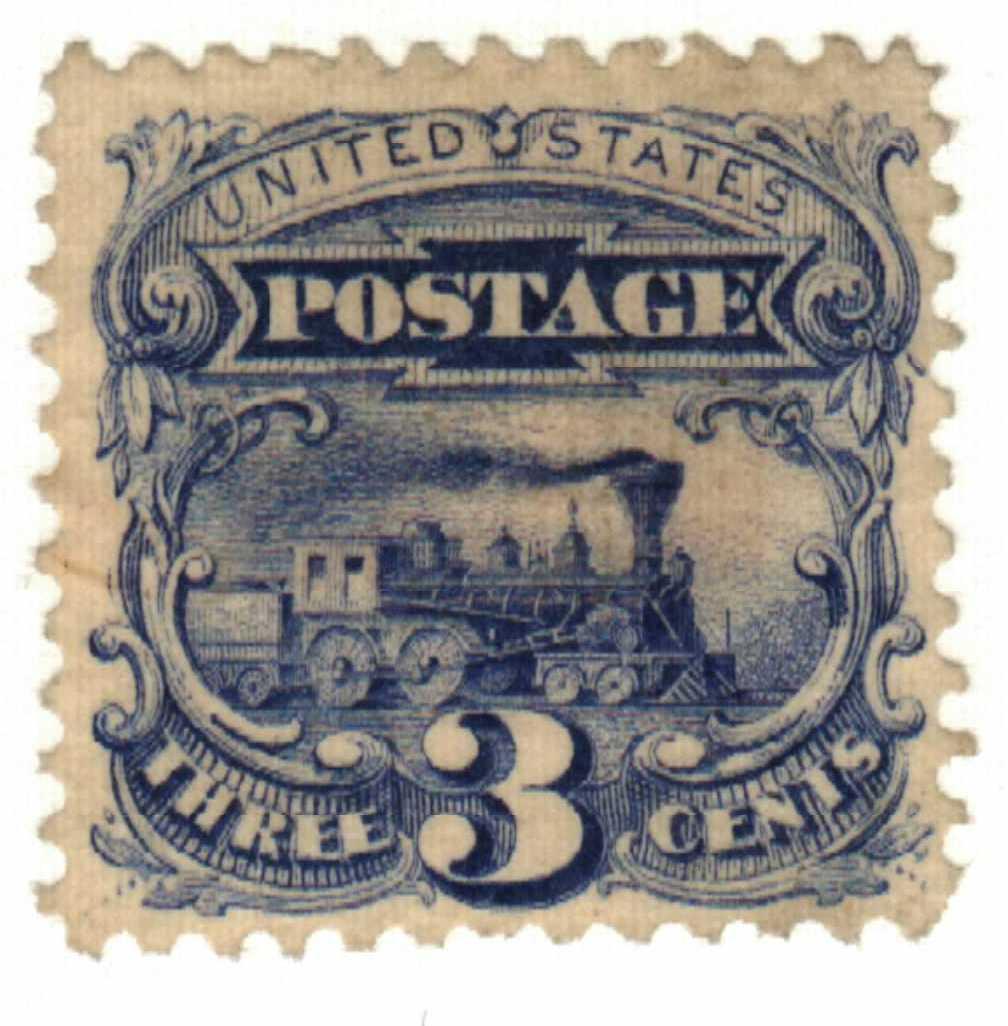 1869 3c Locomotive, ultramarine