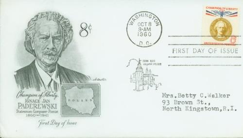 1960 8c Champions of Liberty: Ignacy Paderewski