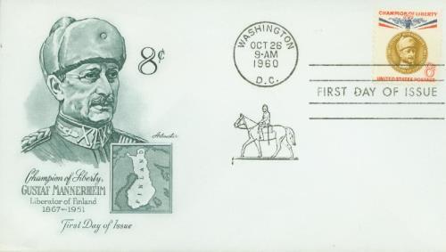 1960 8c Champions of Liberty: Gustaf Mannerheim