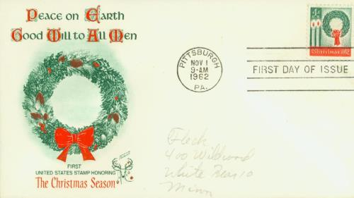 1962 4c Christmas Wreath and Candles