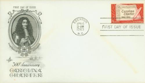 1963 5c Carolina Charter for sale at Mystic Stamp Company