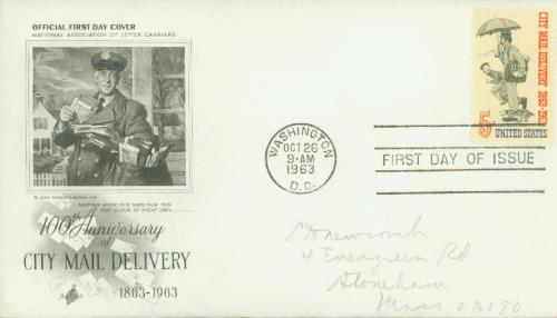 1963 5c City Mail Delivery Centennial