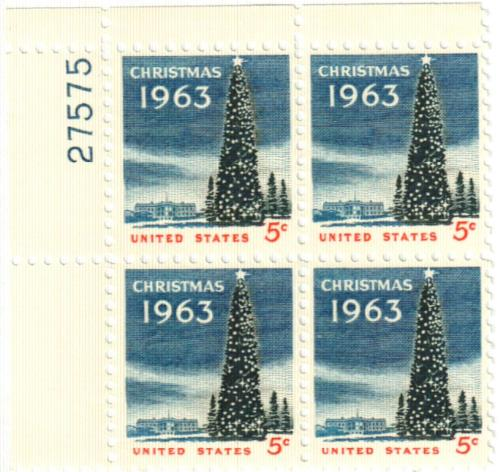 1963 5c Christmas Tree and the White House