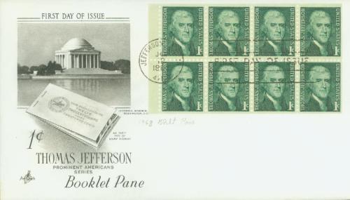 1960 1c Thomas Jefferson,bklt pane of 8