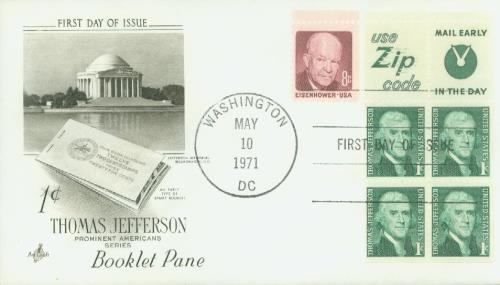 1965-78 1c Thomas Jefferson,bklt 4+2 lbl