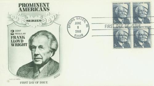 1968 2c Frank L. Wright,bklt pn 5+lbl