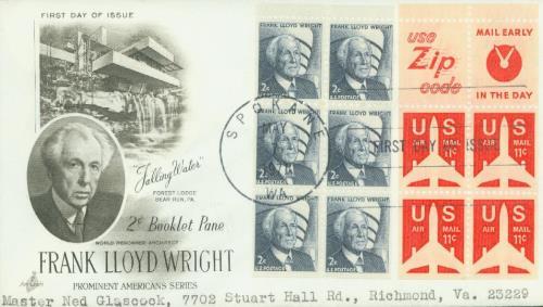 1965-78 2c Frank L. Wright,bklt pane(6)