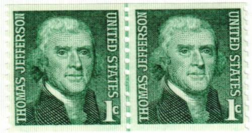 1968 1c Prominent Americans: Thomas Jefferson, perf 10 vertical