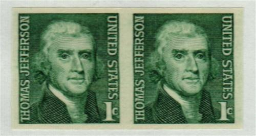1965-68 1c Thomas Jefferson imperforate error pair, plus free normal #1299 coil pair