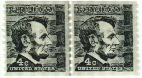 1966 4c Prominent Americans: Abraham Lincoln, perf 10 vertical
