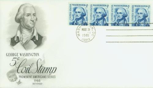 1981 5C Washington Redrawn, Coin, Perf 10