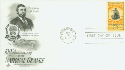 U.S. #1323 FDC – First Day Cover picturing Oliver Hudson Kelley.