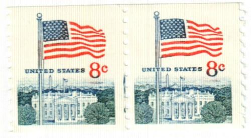 1971 8c Flag and White House, perf 10 veritcal