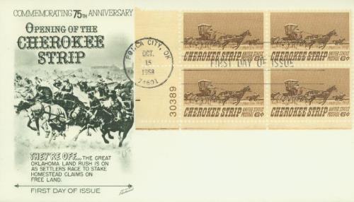 U.S. #1360 FDC – 1968 Cherokee Strip First Day Cover.