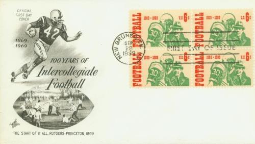 U.S. #1382 FDC – 1969 Intercollegiate Football First Day Cover.