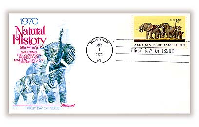 1970 6c Natural History: African Elephant Herd