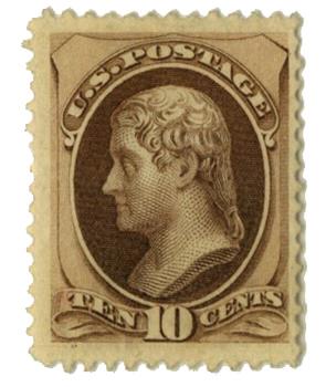 1870 10c Jefferson, brown