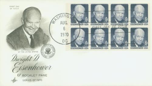 1970 6 Cent D.Eisenhower, Booklet Pane (8)