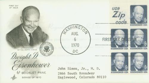 1970 6¢ D.Eisenhower,bklt pane (5+label)