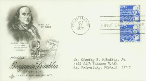 1972 7c Benjamin Franklin