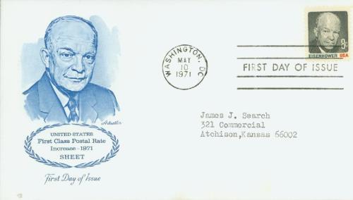 1971 8c Dwight D. Eisenhower, multicolor