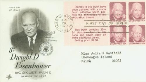 1972 8¢ D.D. Eisenhower,bklt 4+label