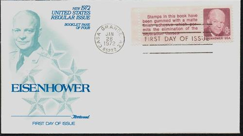 1972 8c Dwight Eisenhower booklet pane and label