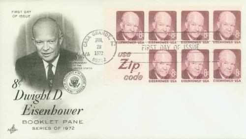 1970-74 8c D.D. Eisenhower,bklt 7+label