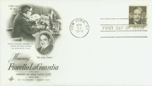 U.S. #1397 FDC – La Guardia First Day Cover.