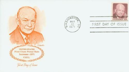 1971 8c D.D. Eisenhower, Rotary Perf 10V