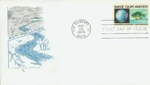 1970 6c Anti-Pollution/Globe & Bluegill