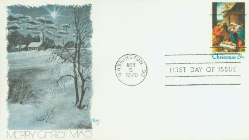 1970 6c Christmas, pre-cancel