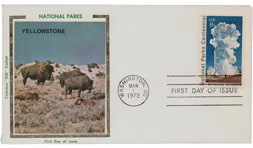 1972 8c National Parks Centennial: Old Faithful, Yellowstone