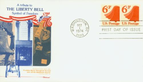 1974 6.3c Liberty Bell, rotary press coil, veritcal perf 10